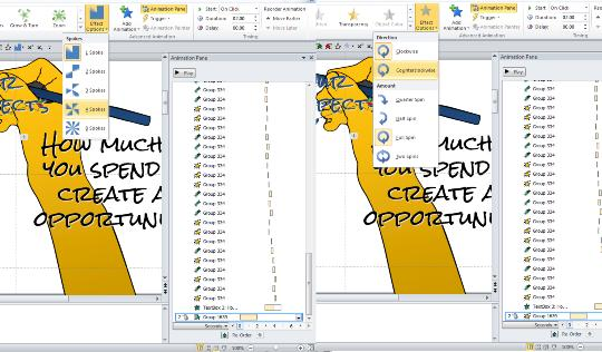 PowerPoint spin animation vs wheel animation