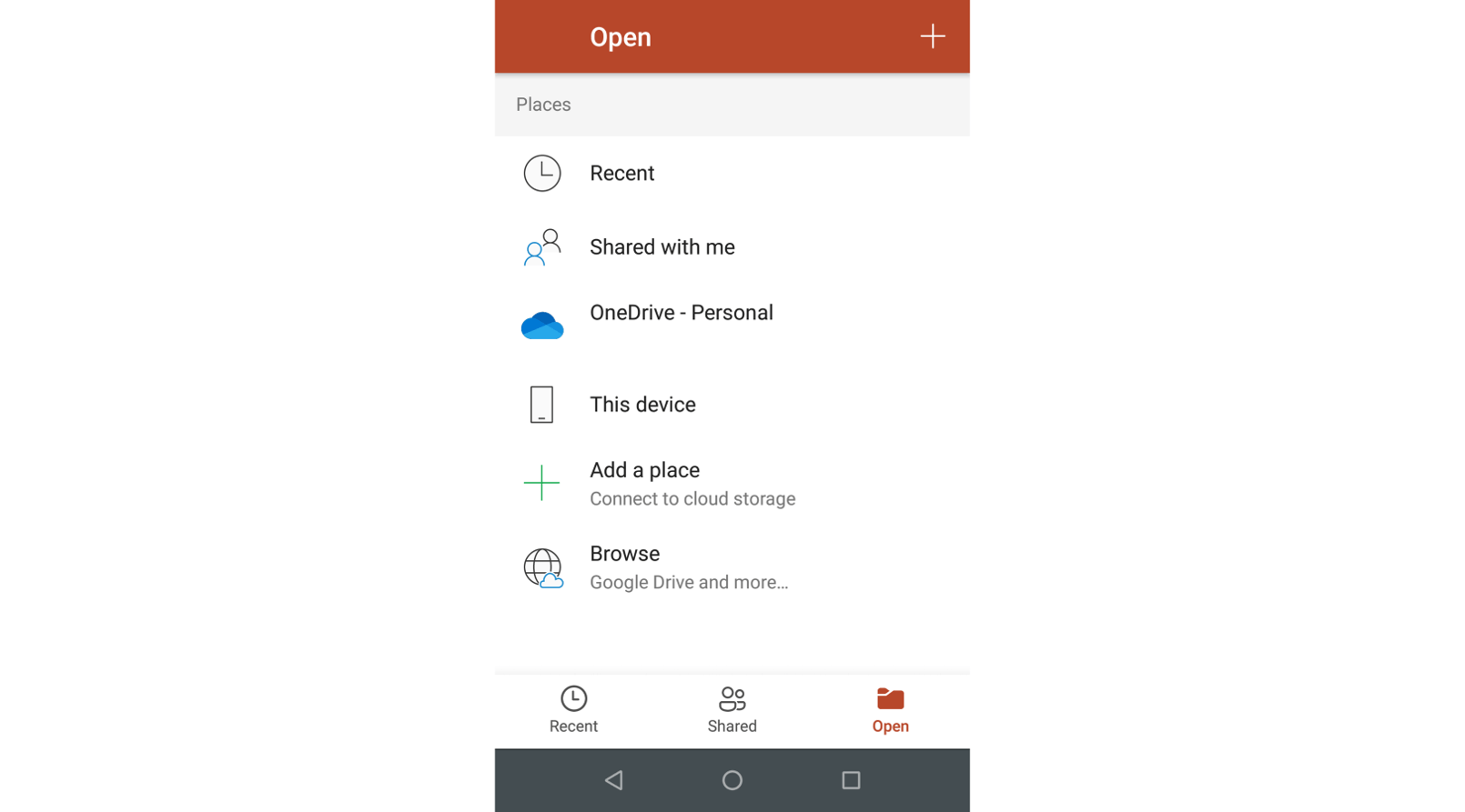 PowerPoint for Android Open presentation options