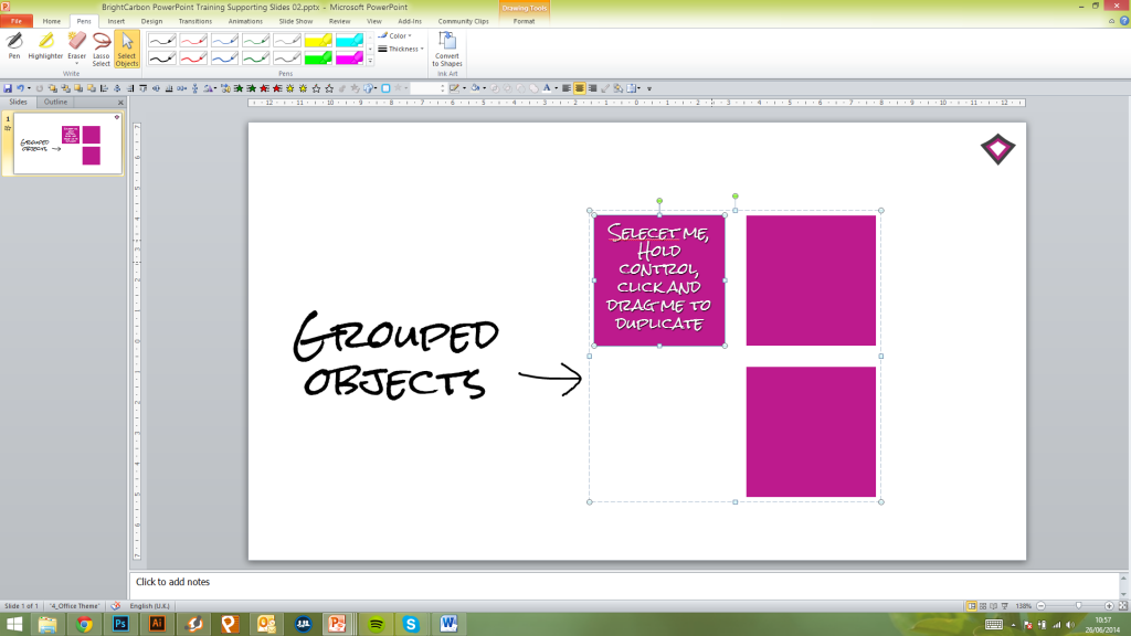 add shapes to grouped objects in powerpoint