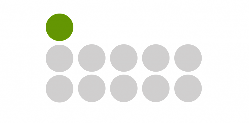 Example of visual hierarchy, grey PowerPoint shapes arranged in a grid with one green shape in the top left.