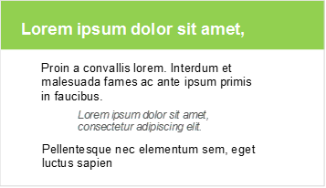 Example of effective visual hierarchy, PowerPoint slide with clear header in green and neat text below.