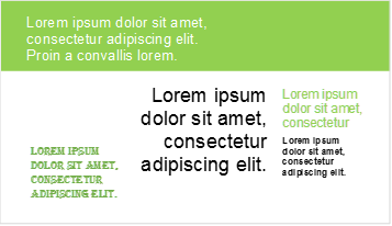 PowerPoint slide with text placed at random in different fonts, sizes and colours