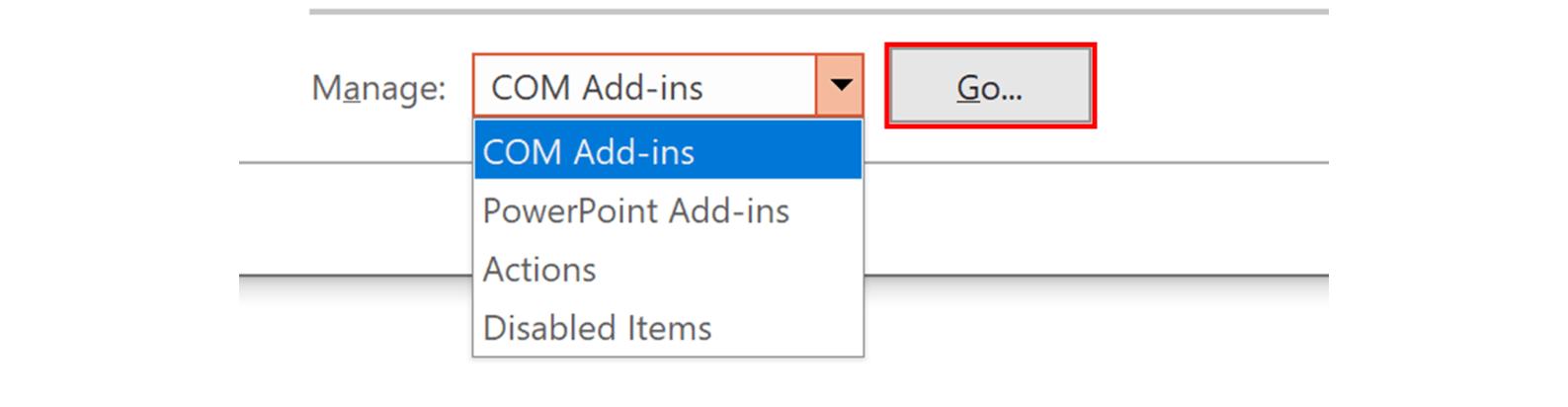 Screenshot of managing COM Add-ins