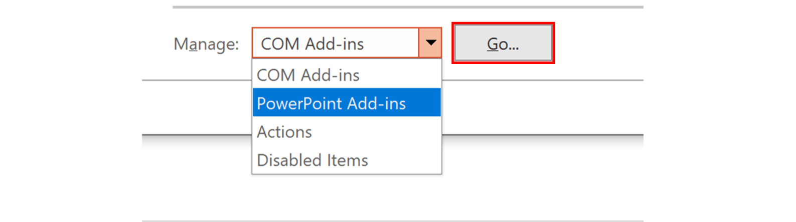 Screenshot of managing PowerPoint add-ins
