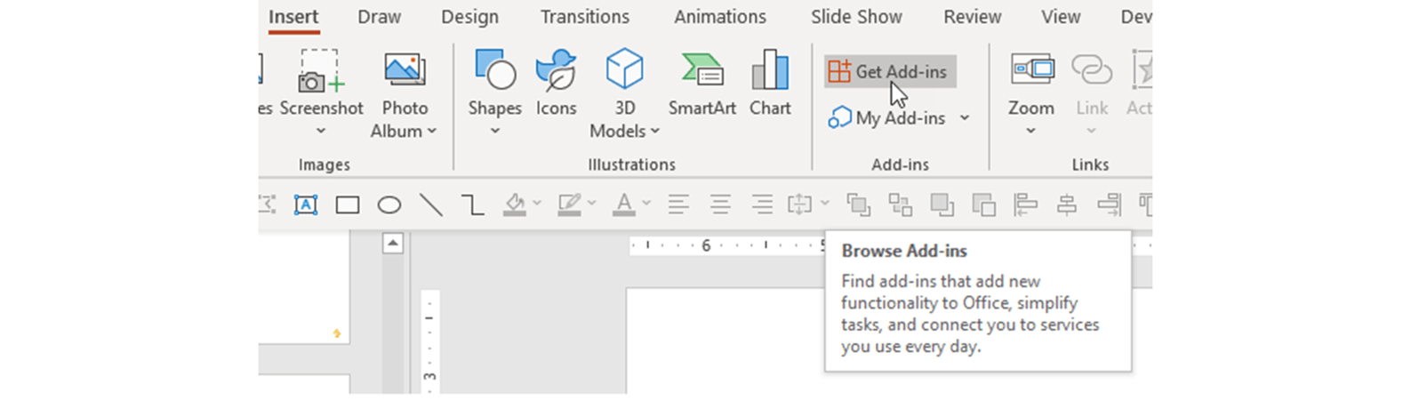Screenshot of adding add-in in PowerPoint