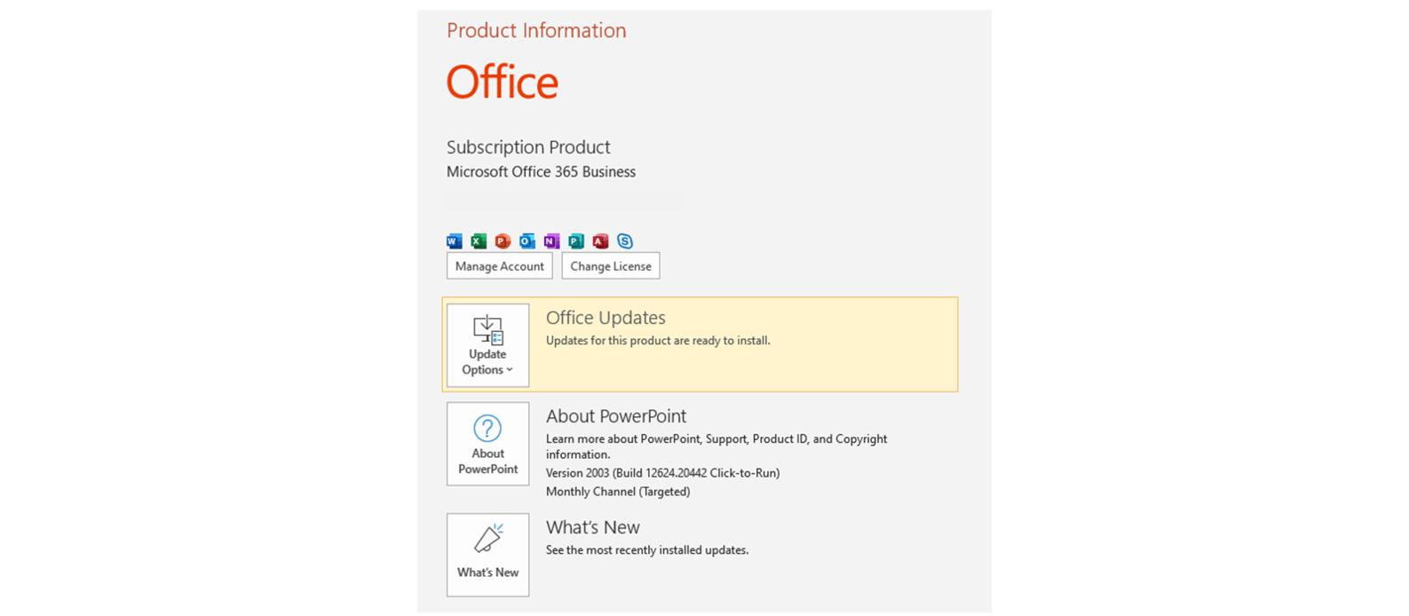 Screenshot showing Office Updates button