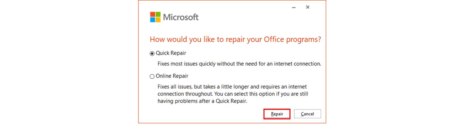 Microsoft Office repair pop-up