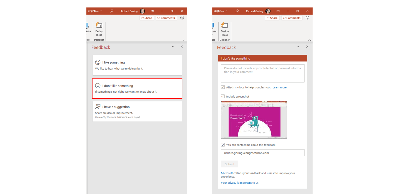 Screenshot showing where to report PowerPoint issues