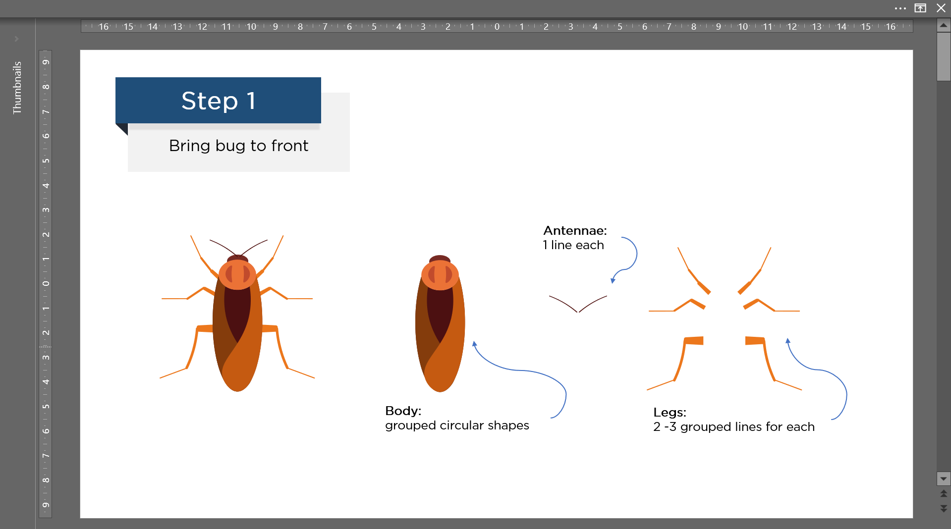 Create bug using PowerPoint shape and line tools
