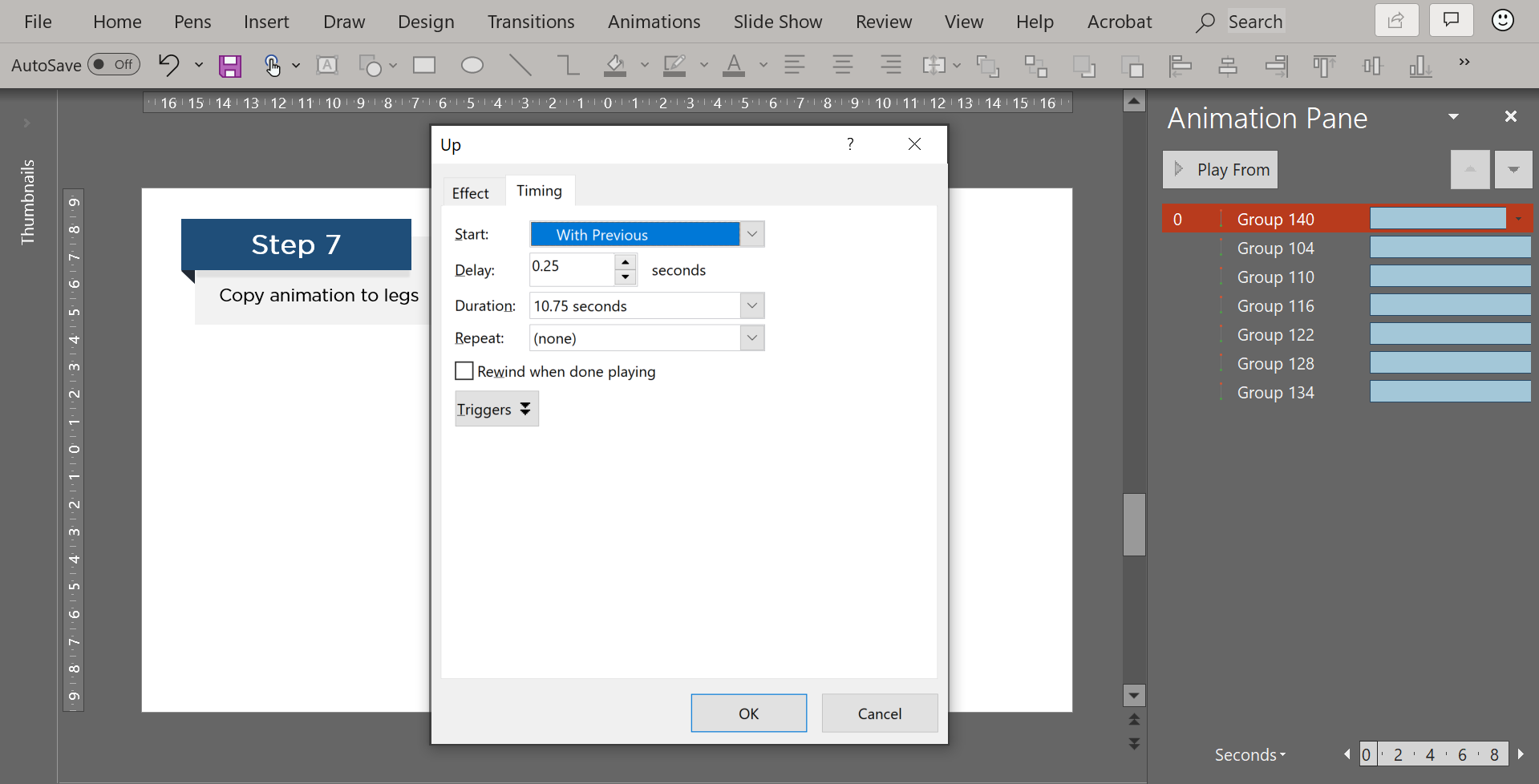 Spin Timing animation dialog box
