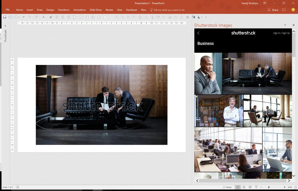powerpoint plug-ins: shutterstock images