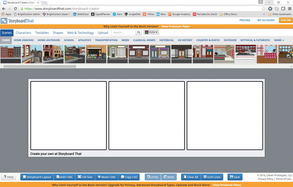 interface with a blank storyboard template
