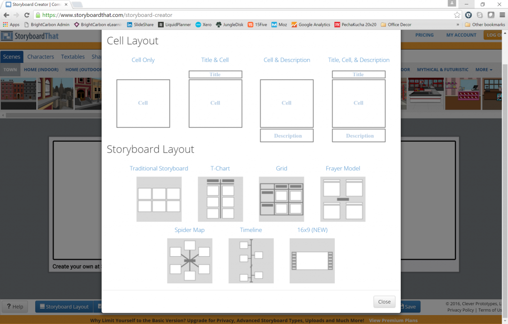 interface showing a range of different layouts for storyboards