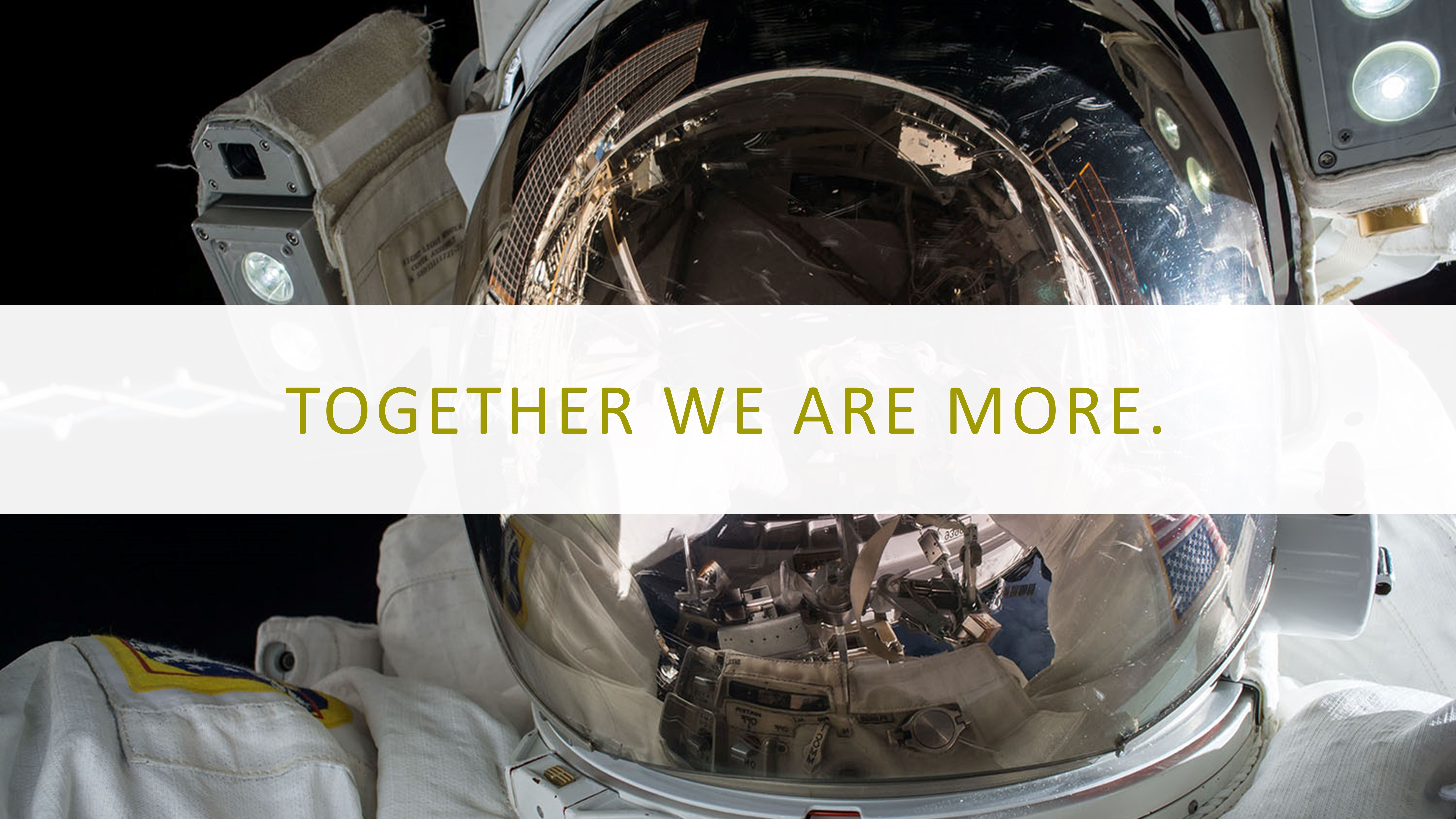 Picture of astronaut with Together We Are More overlaid on a white box