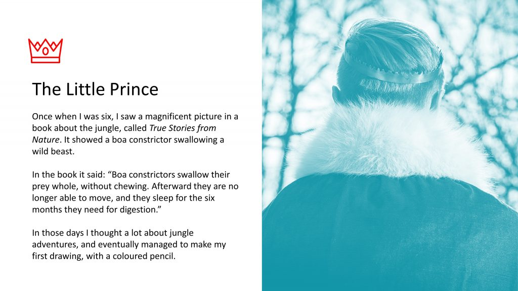 Image of prince with text from The Little Prince, left justified
