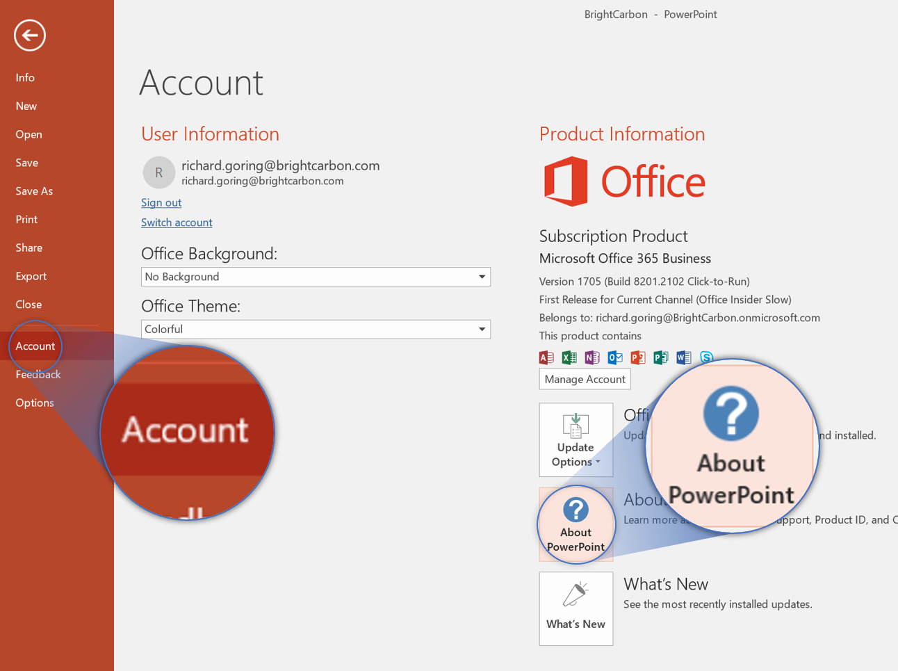 PowerPoint Account About