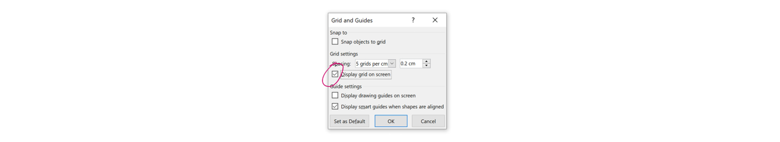 PowerPoint grids and guides_menu