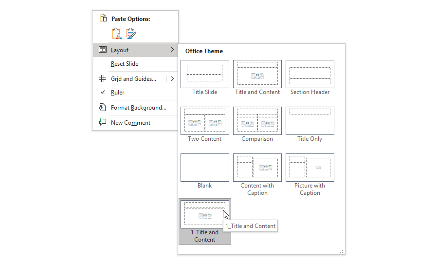 PowerPoint Slide Master Layout orphan