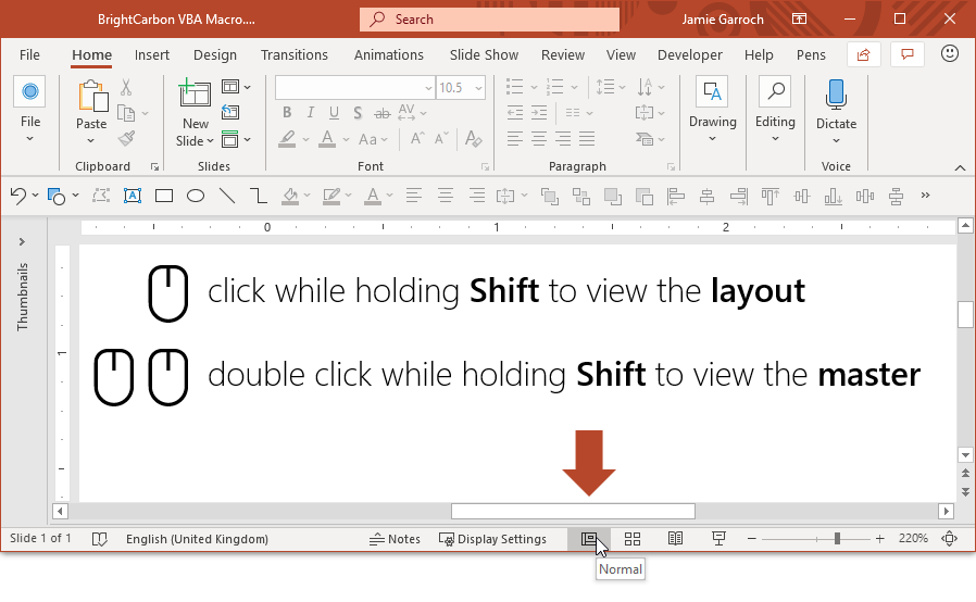 PowerPoint double-click Normal View for Slide Master