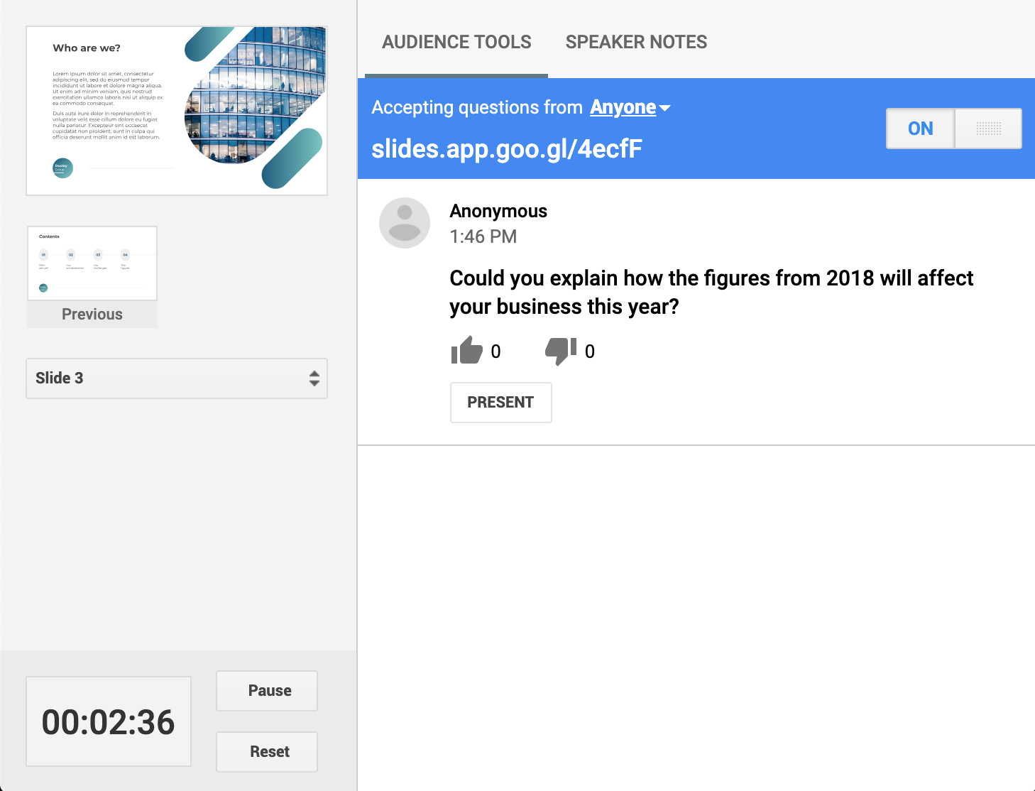 Google Slides features