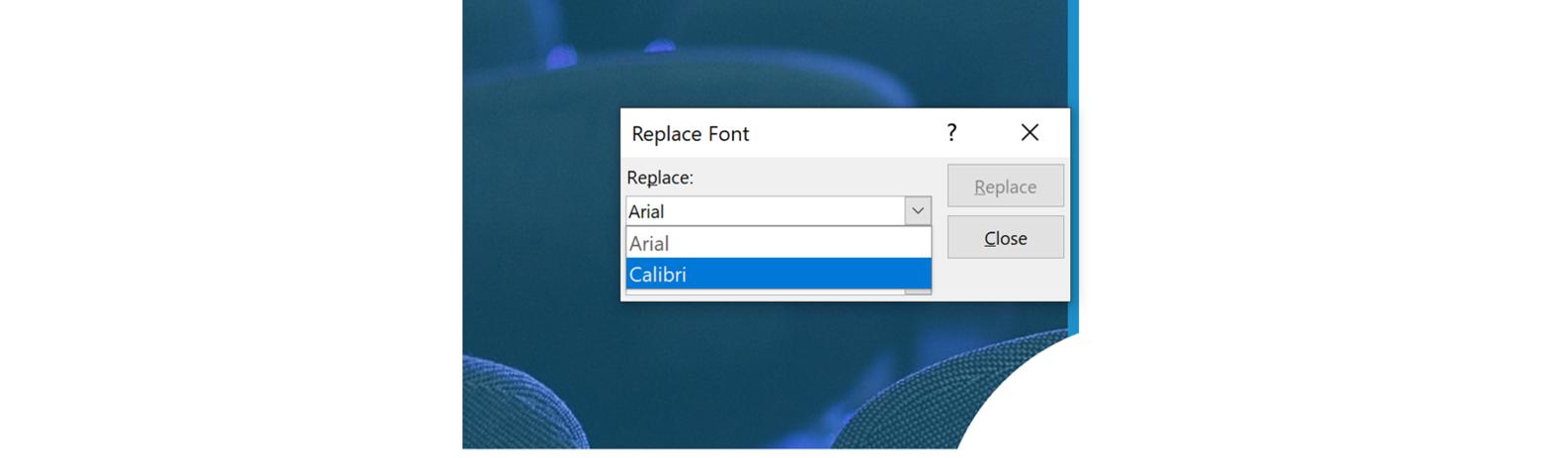 Replace fonts dropdown menu screenshot