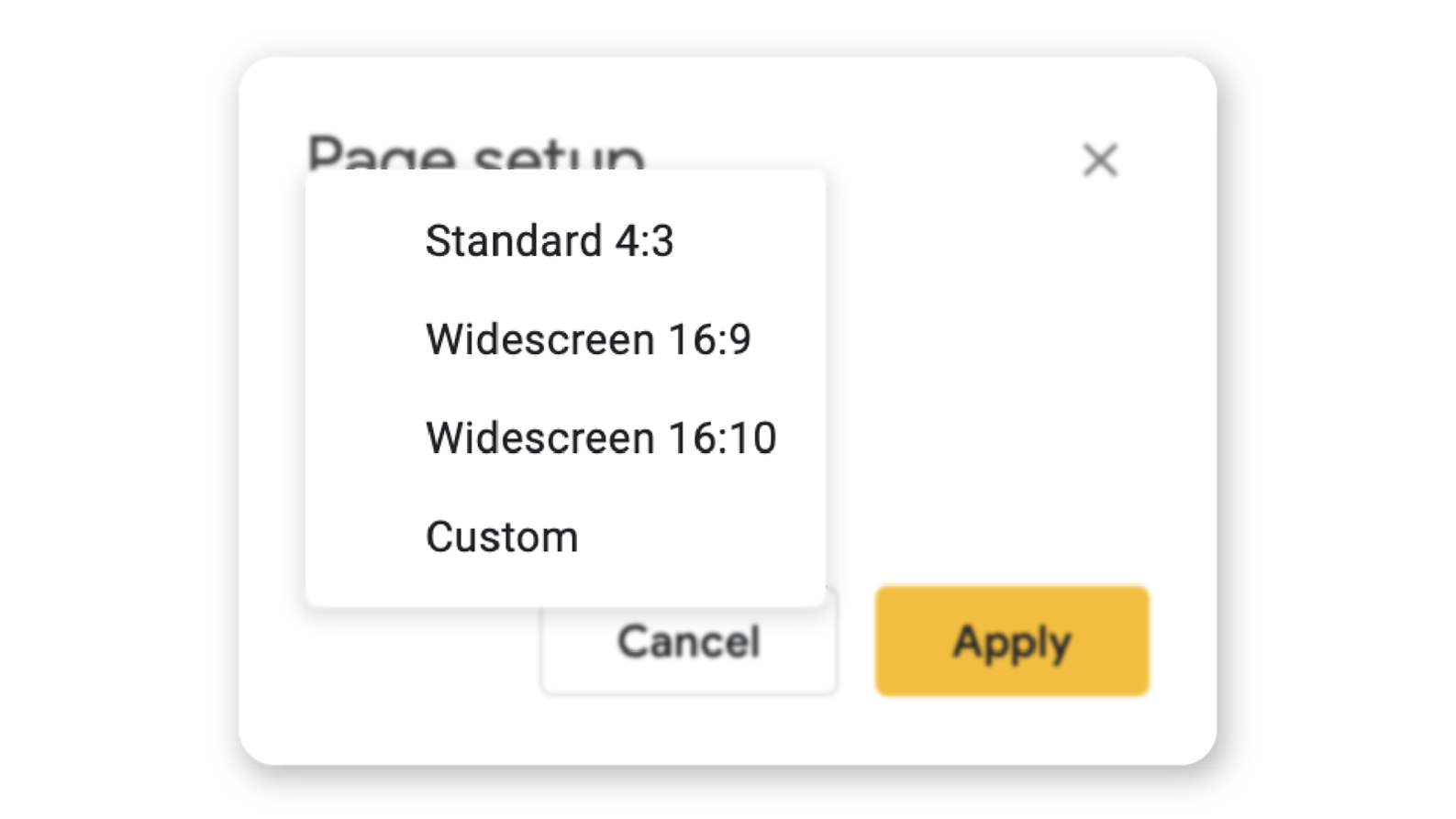 How to change slide size in Google Slides page set up view
