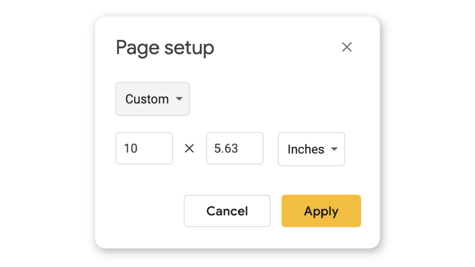 How to set custom dimensions in Google Slides Page set up view