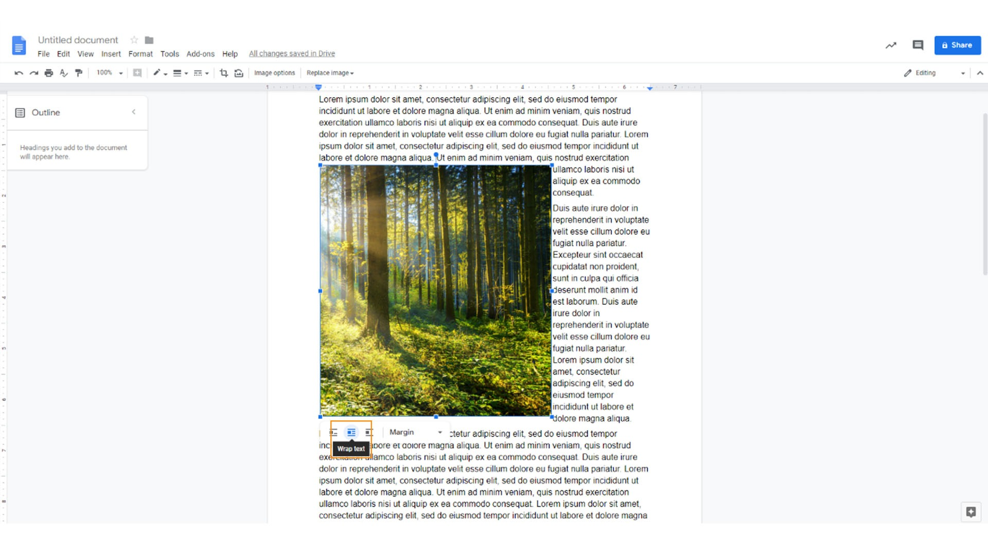 How to wrap text in google Docs, click the wrap text button