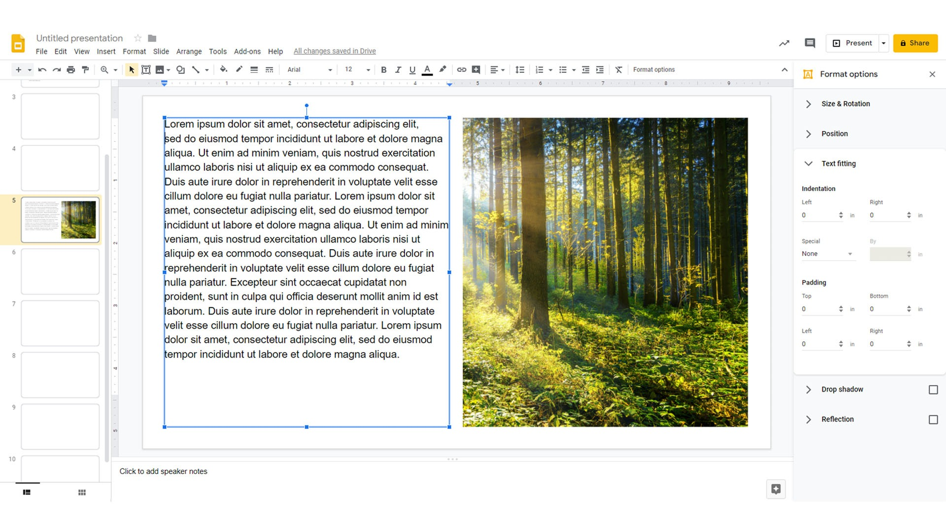 How to wrap text in google slides finished example