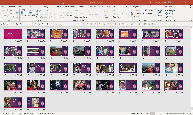 Screenshot of birthday slideshow slides