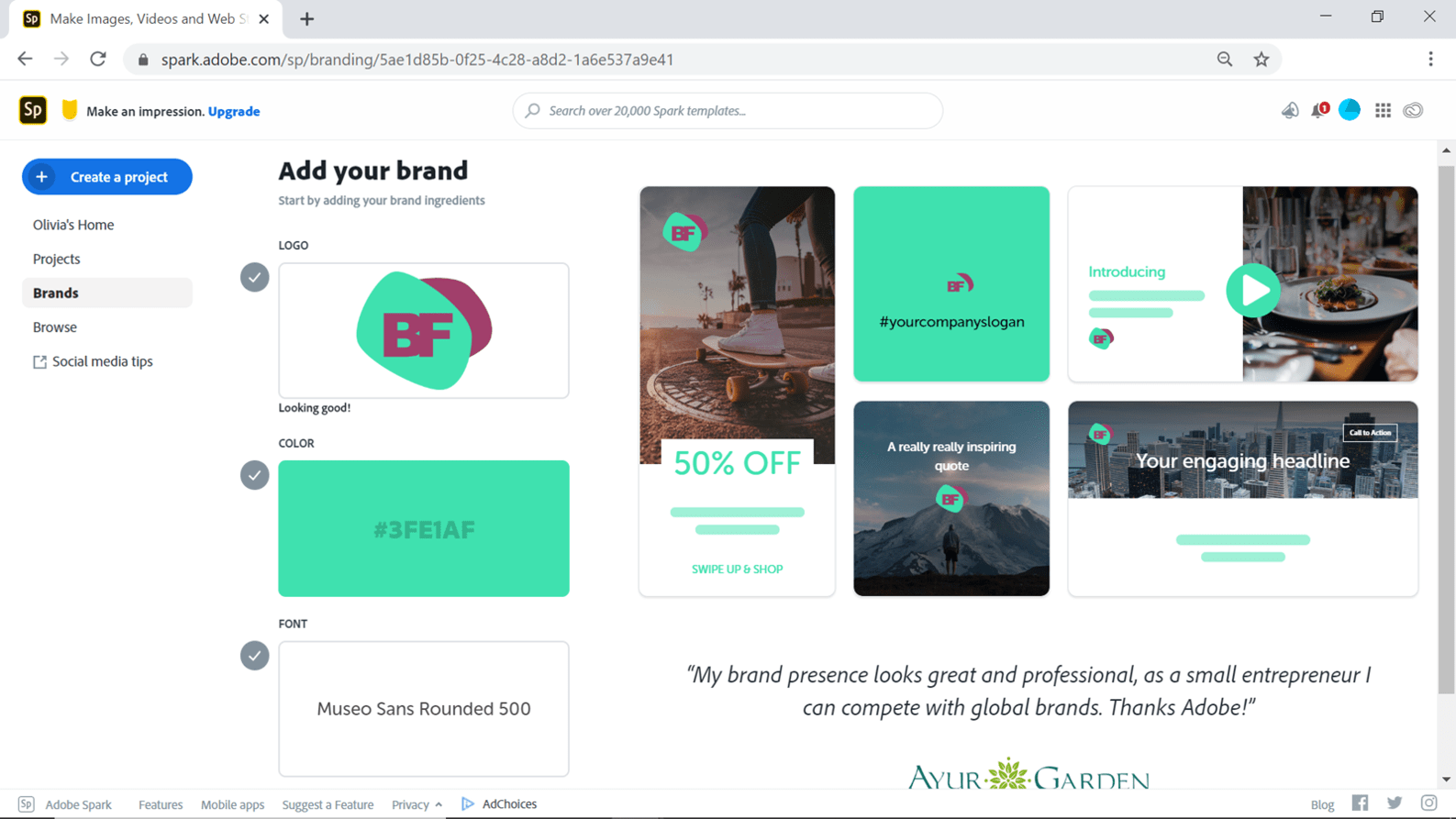 Screenshot showing how you can add brand colours and fonts in Adobe Spark