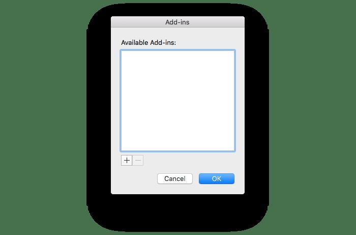 Add-ins window for PowerPoint Mac