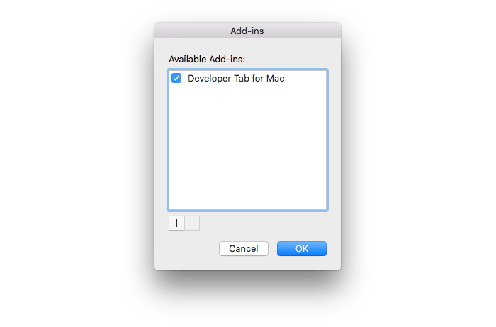 Add-ins window for PowerPoint Mac with the Mac developer tab add-in visible.
