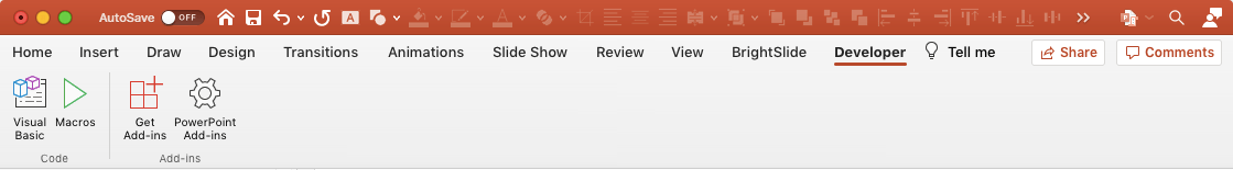 Screenshot of PowerPoint Mac Developer tab with the Quick Access Toolbar above the ribbon