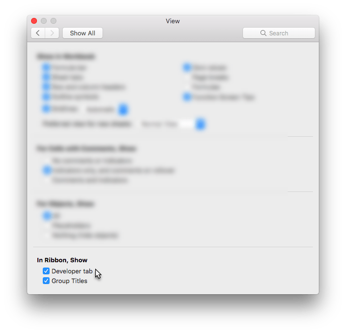 Excel Mac Preferences View with focus on 'In Ribbon, Show' the developer tab option is selected.