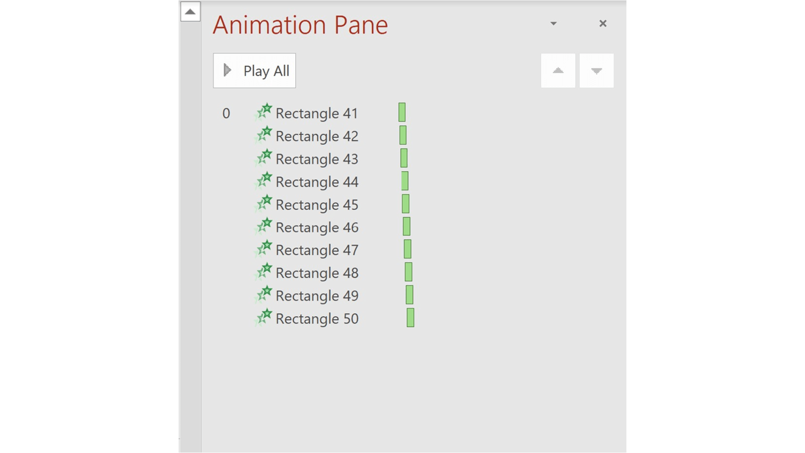 Animation pane showing all animations for this transition