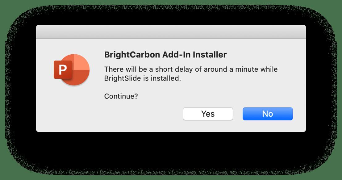 Screenshot of BrightSlide PowerPoint proceed