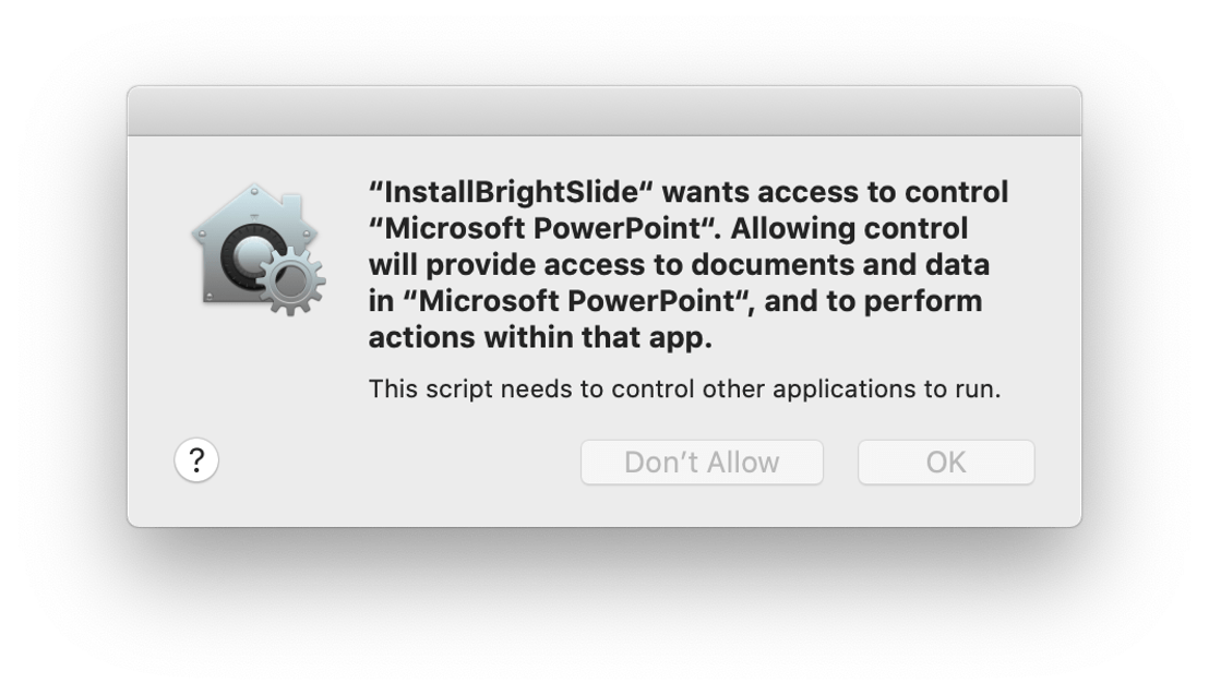 Screenshot of BrightSlide permission for PowerPoint