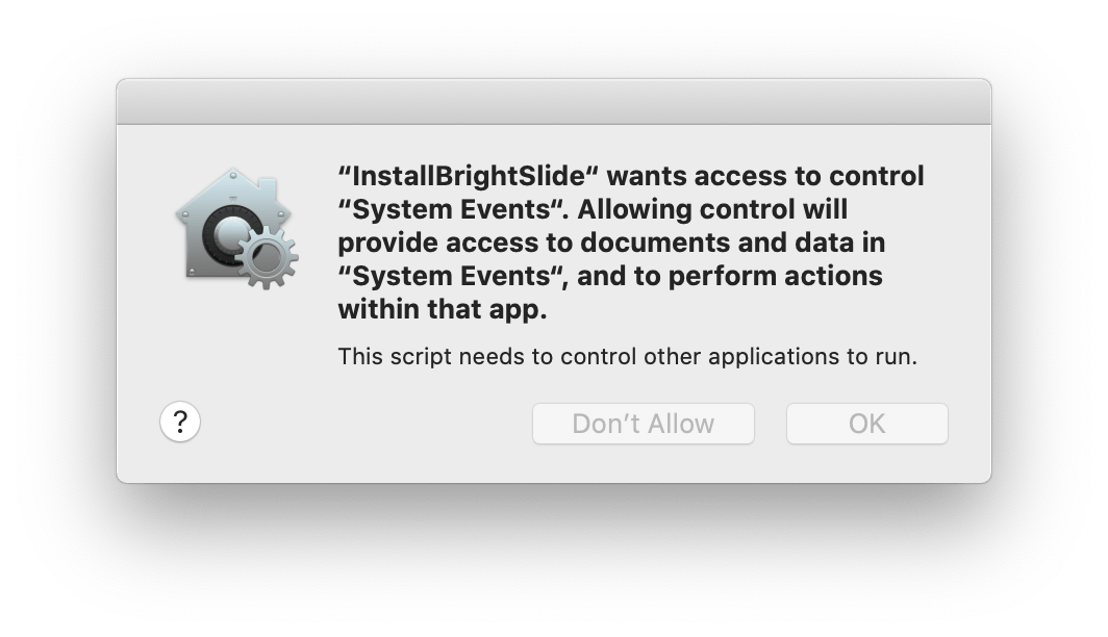 Screenshot of BrightSlide permission for System Events