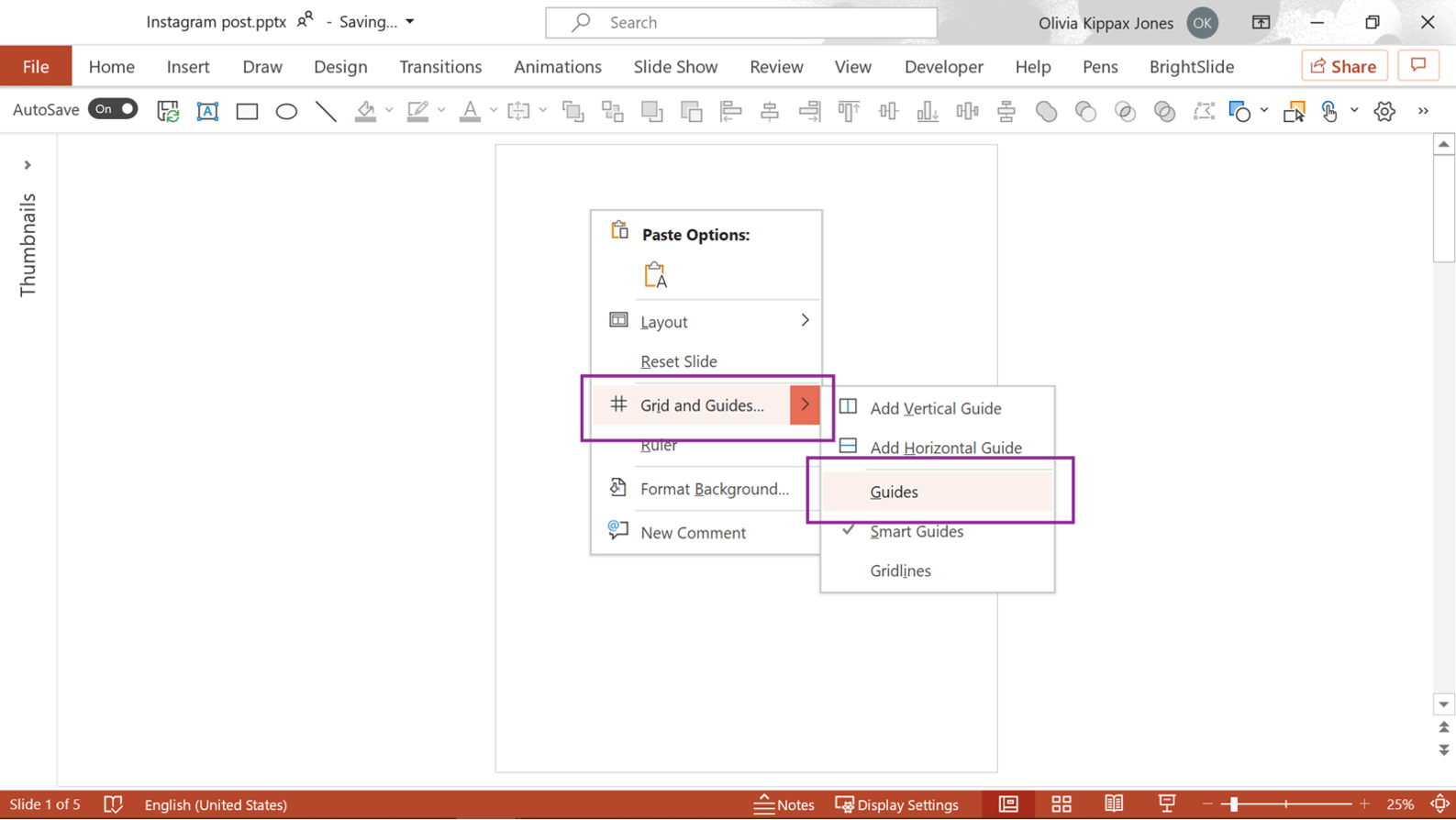 Screenshot of PowerPoint showing how to turn the Guides on.