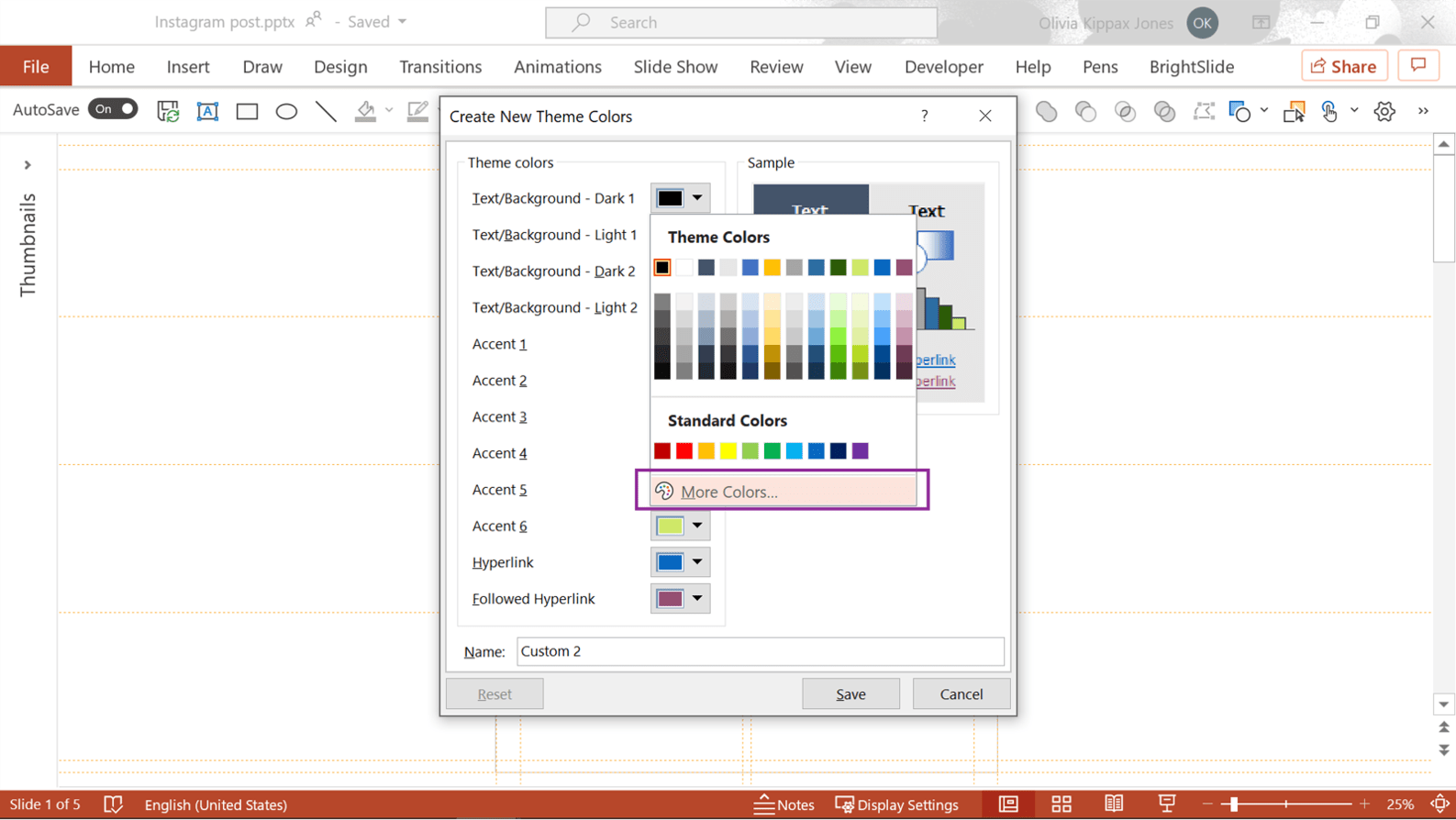 Screenshot of PowerPoint showing how to add custom colors to new theme.