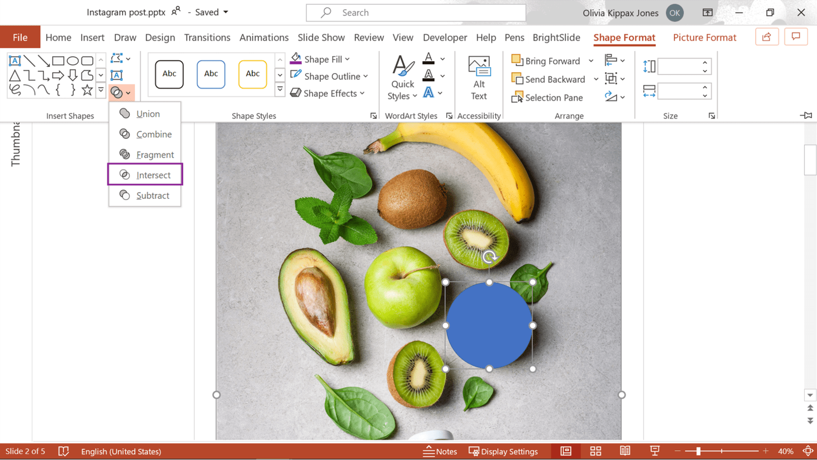 screenshot of powerpoint showing where to find the Intersect Boolean tool.