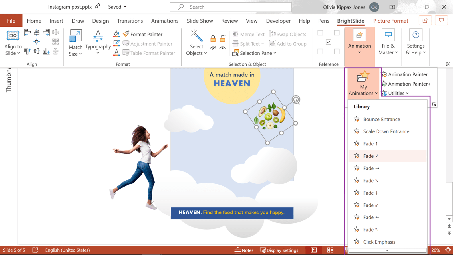 Screenshot of PowerPoint showing where to find the BrightSlide Animation Library.