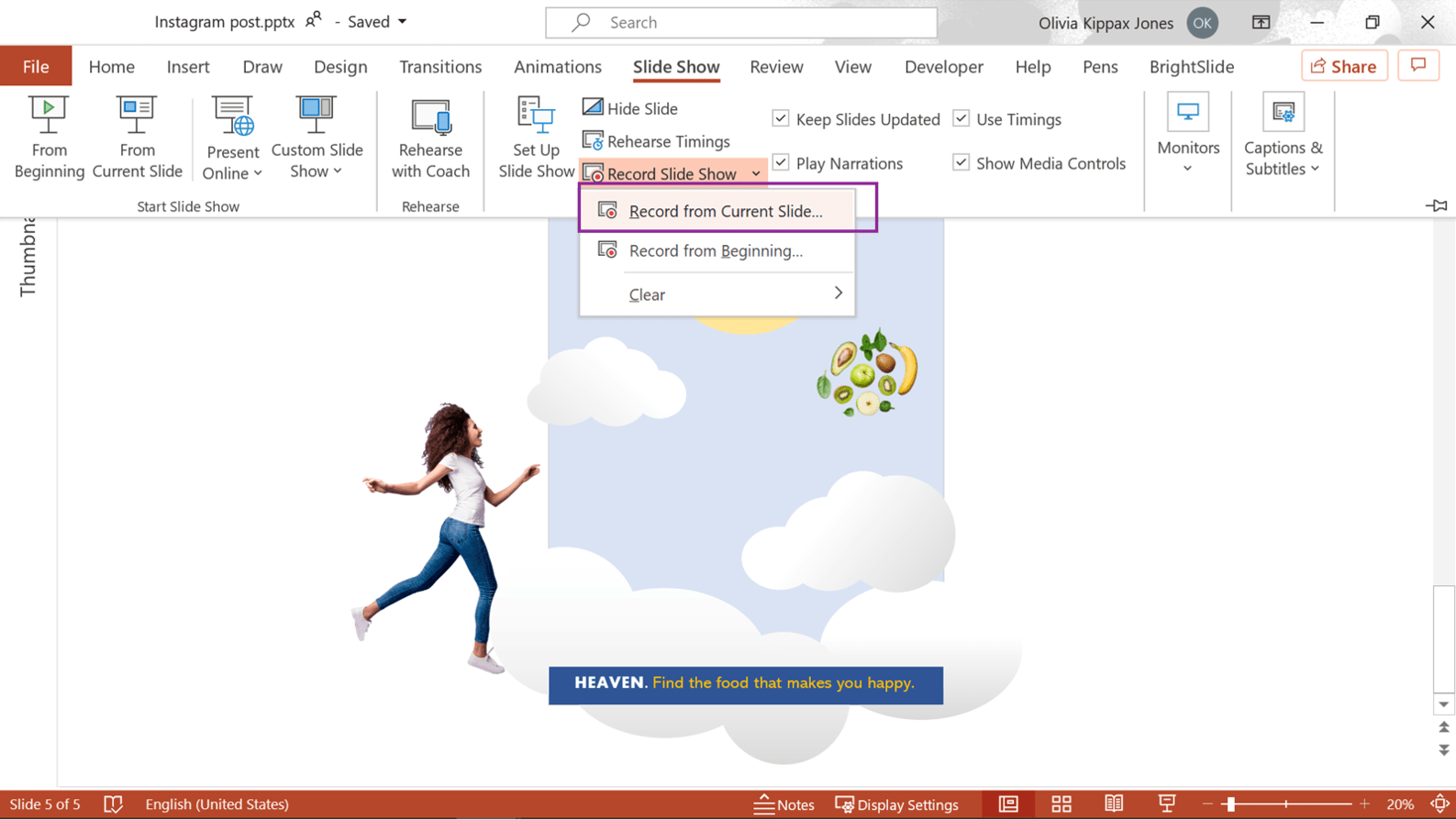 Screenshot of powerpoint showing where to find the Record from Current Slide feature to record your custom social media graphic