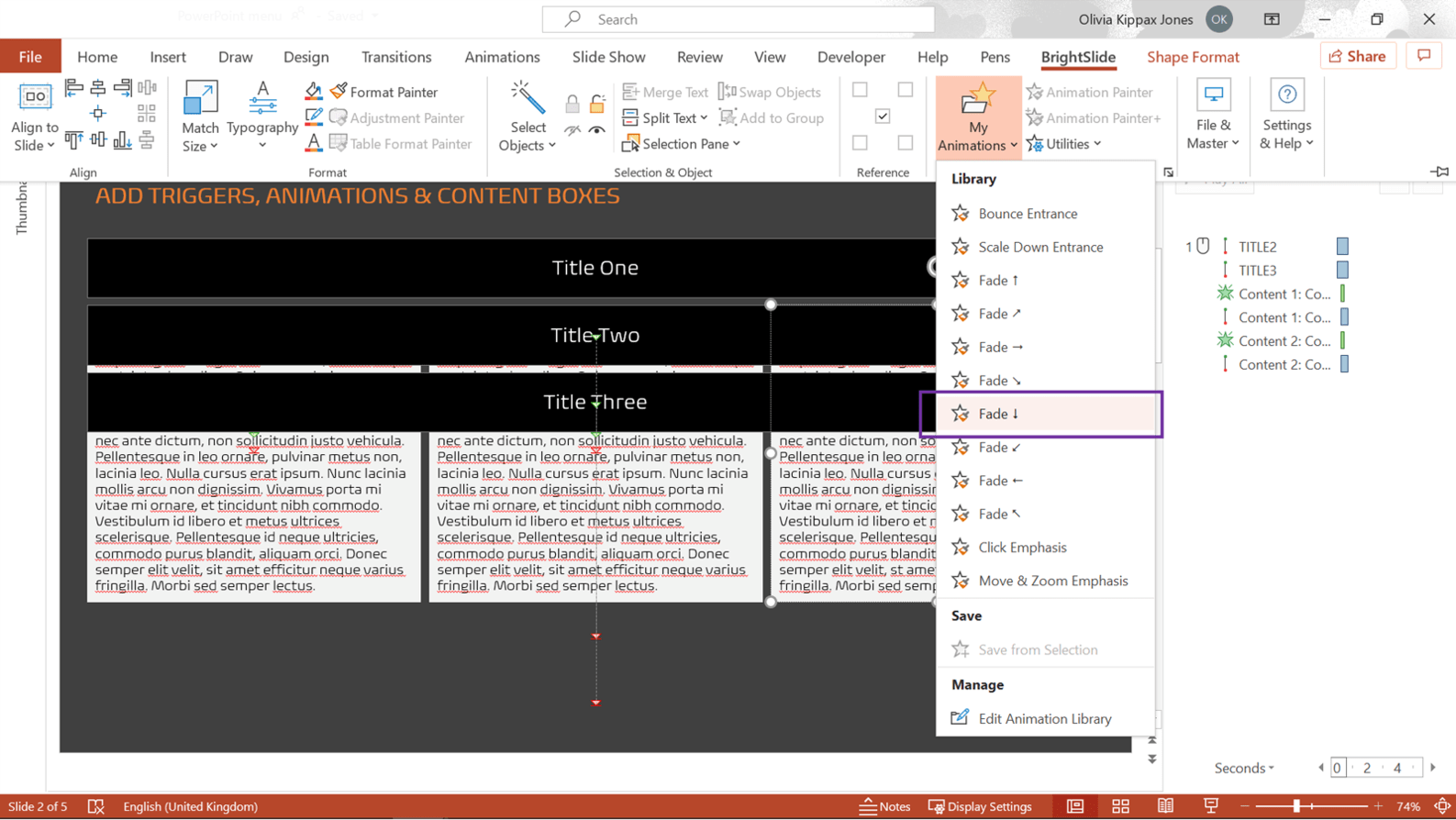 Screenshot of PowerPoint showing the BrightSlide tab with My Animations library highlighted