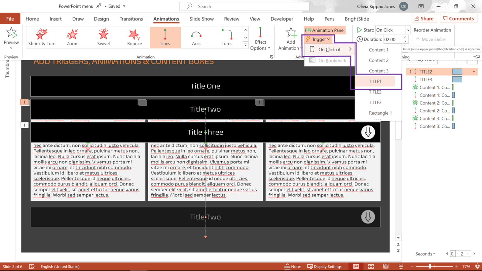 Screenshot of PowerPoint showing the Animations tab with the trigger menu highlighted