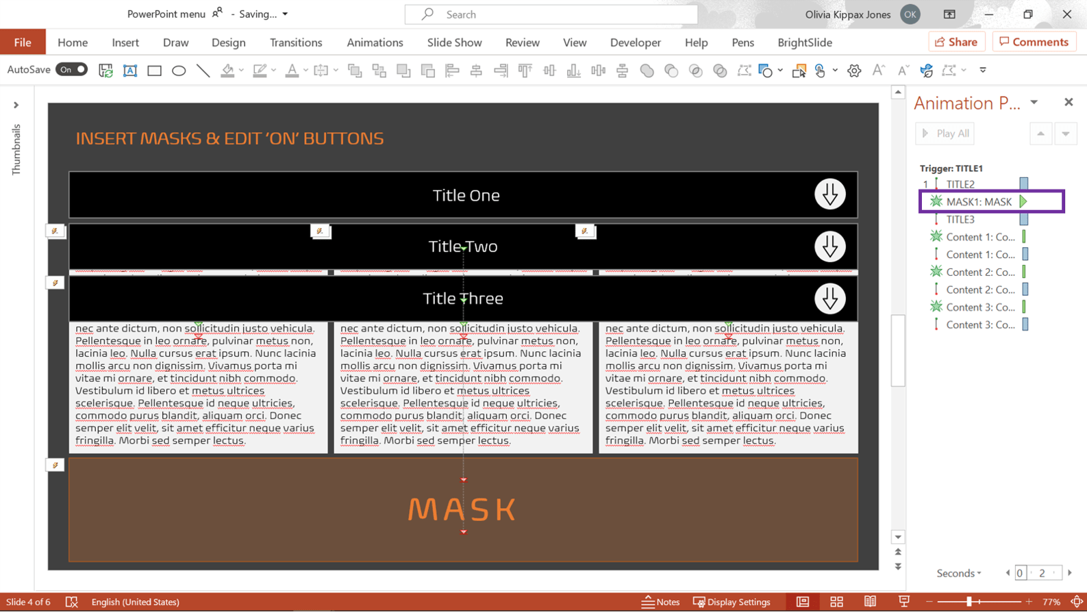 Screenshot of PowerPoint showing the Animation Pane with the a mask animation hughlighted