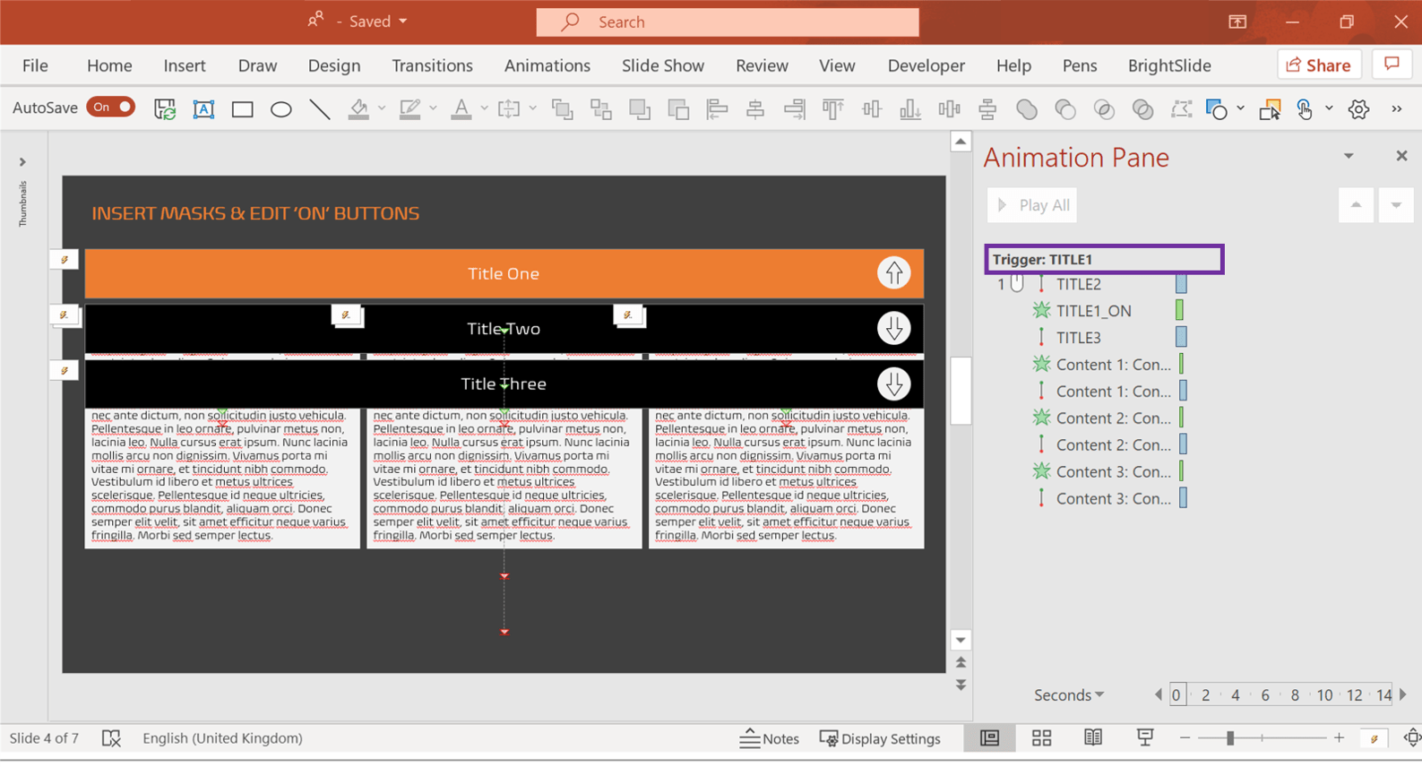 Screenshot of PowerPoint showing the Animation Pane with a named Trigger highlighted