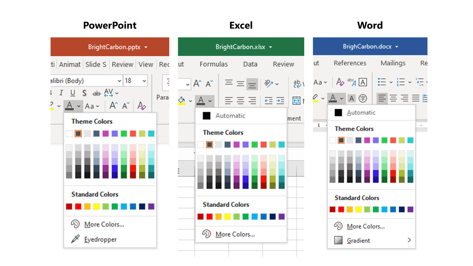 screenshot of the Office Theme Colors dropdown in PowerPoint, Word and Excel