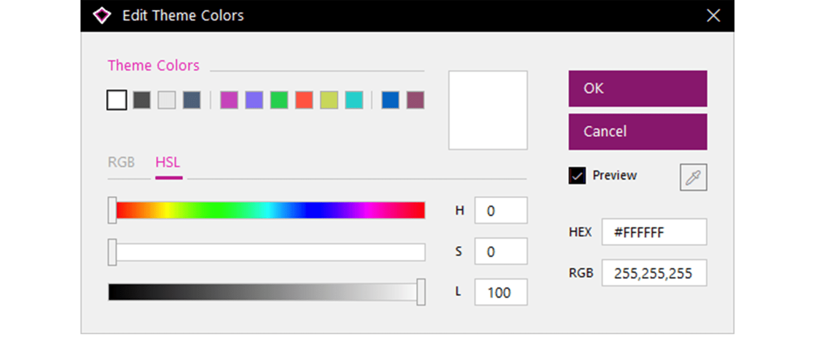 Screenshot of the Edit Theme Colors pop up window from our PowerPoint add-in BrightSlide